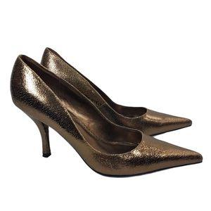 Steve Madden Darring Gold Metallic Pointed Toe 8.5